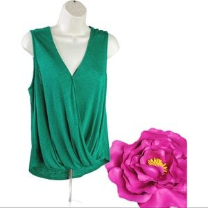 Gorgeous Green Faux Wrap Knit Top